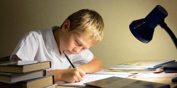 Bambino fa i compiti a casa