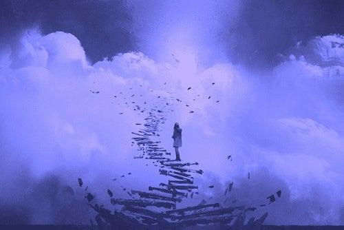 Ragazza verso la felicità su scale che si sgretolano