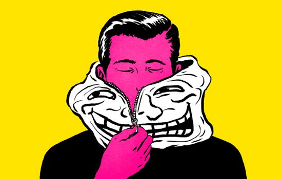 Uomo con maschera da troll