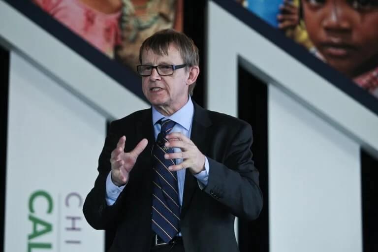 Hans Rosling durante una conferenza