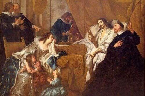 Dipinto la morte di luigi XIV