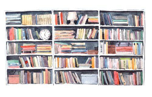 Acquarello con libreria piena di libri