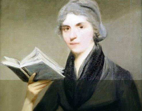 Mary Wollstonecraft con libro