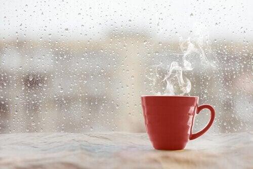 Fumo che esce dalla tazzina e finestra bagnata dalla pioggia