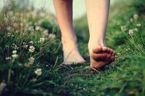 Connettersi con la natura a piedi nudi sull'erba