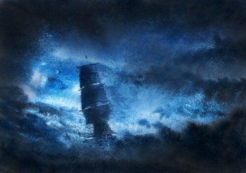 Illustrazione che rappresenta una nave nella notte