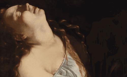 Dipinto di donna che guarda in alto