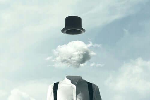 Uomo con nuvola al posto della testa