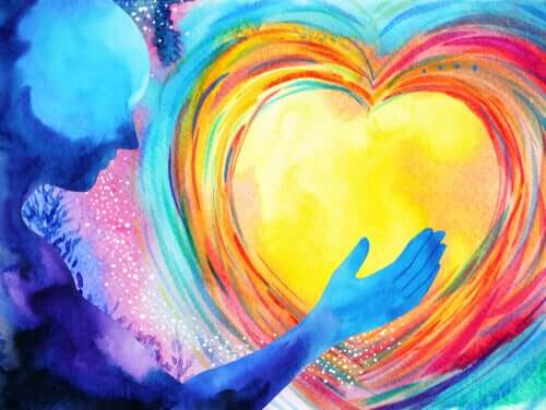 Colori a forma di cuore e sagoma umana