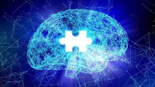 Coscienza e cervello con pezzo di puzzle mancante