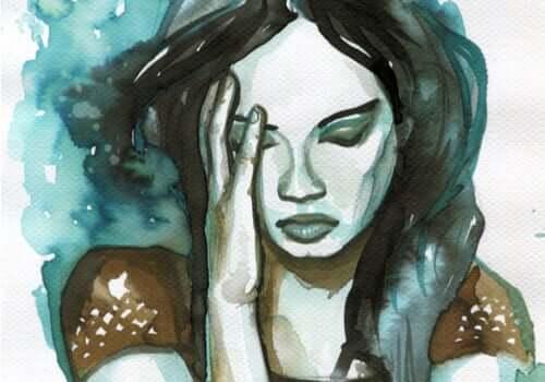 Acquarello di donna triste che vuole reinterpretare le esperienze negative