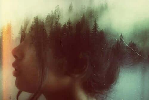 Profilo di donna che si trasforma in alberi