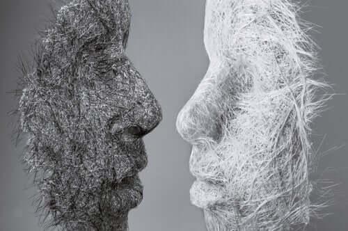 Profili umani grigio e bianco
