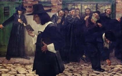 Quadro con Baruch Spinoza per strada