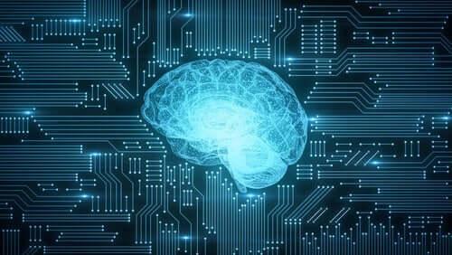 Cervello stilizzato all'interno di un computer
