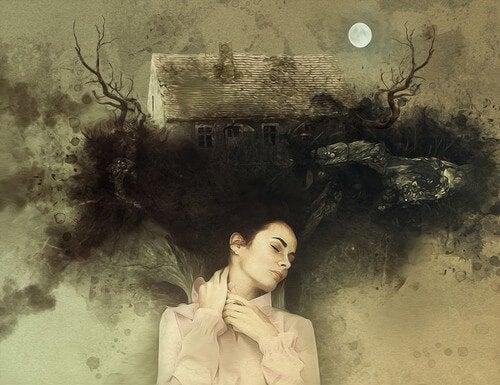 Donna che dorme e con una casa sui capelli