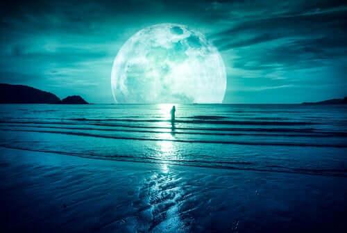 Uomo mare e luna piena