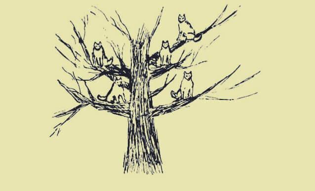 Albero con lupi, disegno