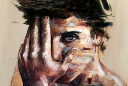 Ragazzo angosciato, pittura ad olio
