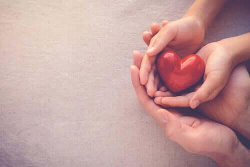 Mani che abbracciano un cuore