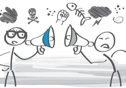 Figure stilizzate discutono con il megafono