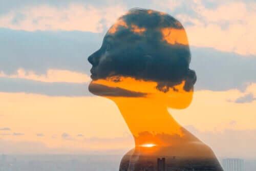 Profilo di donna e tramonto