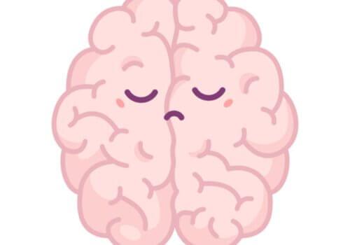 Pessimismo e aree del cervello, cervello con faccia triste
