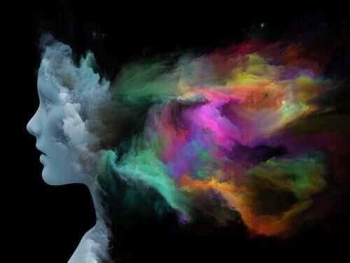 Sagoma umana con fumi colorati