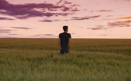 Uomo in un campo