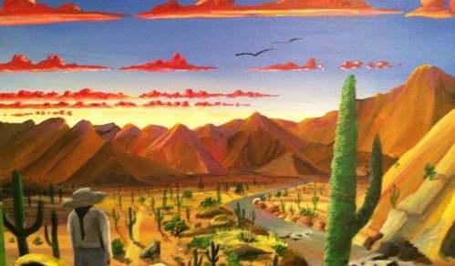 Campo di cactus e deserto.