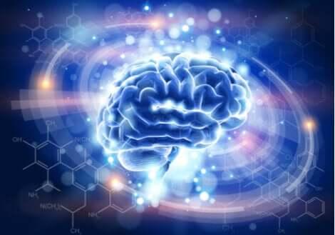 Cervello con punti luminosi.