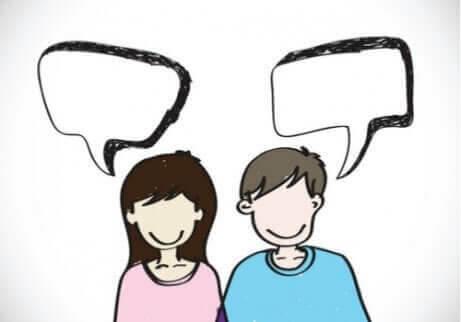 Disegno donna e uomo che parlano