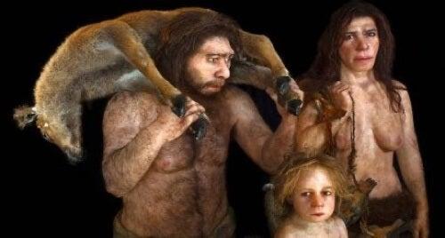 Ricostruzione 3d di una famiglia di Neanderthal.