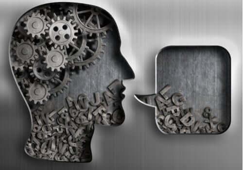 Processi cognitivi: viso con meccanismi e lettere.