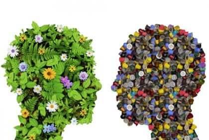 Profili umani con fiori e bottoni