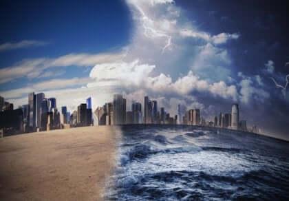 Metropoli colpita da cambiamenti climatici.