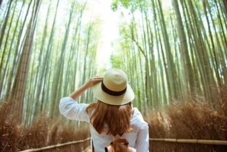 Donna con il cappello nel bosco.