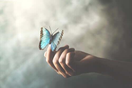Donna che tiene in mano una farfalla azzurra.