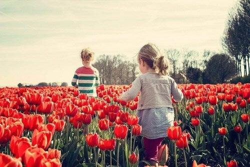 Bambini felici in un campo di tulipani rossi.