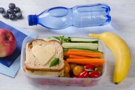 Cibi sani e bottiglia d'acqua.