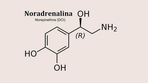 Formula chimica della noradrenalina.