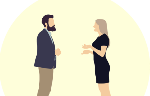 Illustrazione di una coppia che discute.