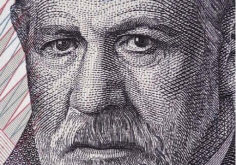 Volto di Freud su banconota austriaca.