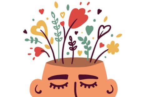 Testa da cui escono fiori e cuori, a rappresentare il pensiero astratto.
