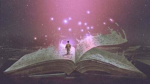 Illustrazione di un ragazzo dentro un libro.