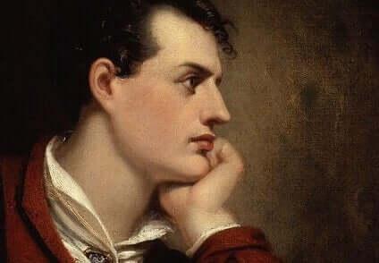 Ritratto di Lord Byron girato di profilo.