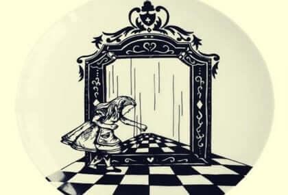 Illustrazione di Alice attraverso lo specchio.