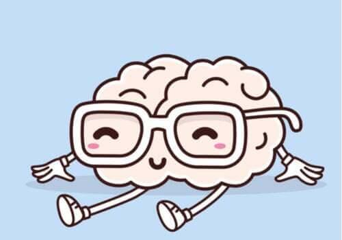 Cervello con gli occhiali che ride.