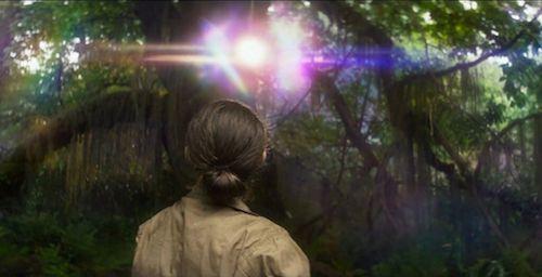 Donna che osserva un bagliore di luce tra gli alberi.