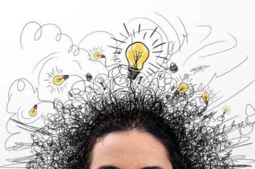 Illustrazione di fuga delle idee con lampadine.